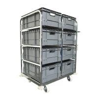 Wózek do komisjonowania, zawiera 8 pojemników Euronorm 600x400
