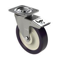 Zestaw kołowy skrętny z hamulcem 150 mm, PA, PU, 250 kg