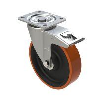 Zestaw kołowy skrętny PU Ø 150 mm - z łożyskiem kulkowym i hamulcem, 500 kg
