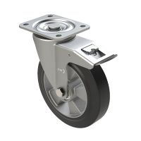 Zestaw kołowy skrętny elastyczna guma Ø 160 mm - z łożyskiem kulkowym i hamulcem, 400 kg