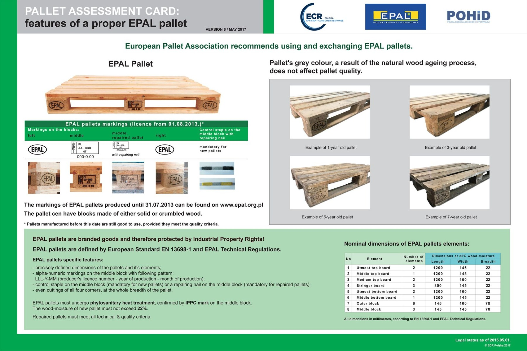 Pallet assessment card Epal - ENG
